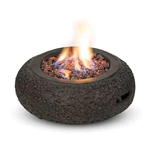 blumfeldt EL Hierro Gas-Feuerschale - Feuerstelle, Gasbetrieb, maximale Heizleistung: 31.700BTU/9,3 kW, elektrische Zündfunktion, 2 kg Lavagestein aus Naturfels, CleanFire on Demand, dunkelgrau