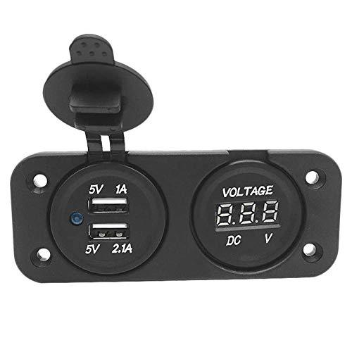 Yuquanxin 12V / 24V Barco DE Coche Dual USB Cargo USB Voltaje LED Voltímetro Panel Marino Modificación De Automóviles Durable (Color : Black)