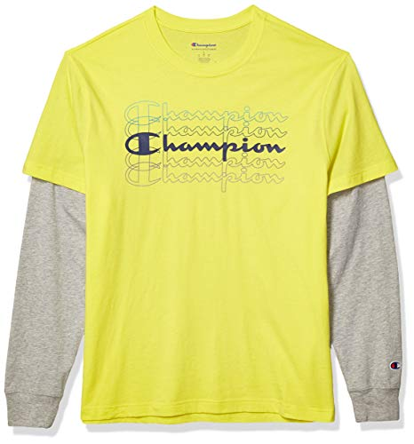 Champion Men's Jersey 2 FER TEE, Journey Yellow/Oxford Grey, Small