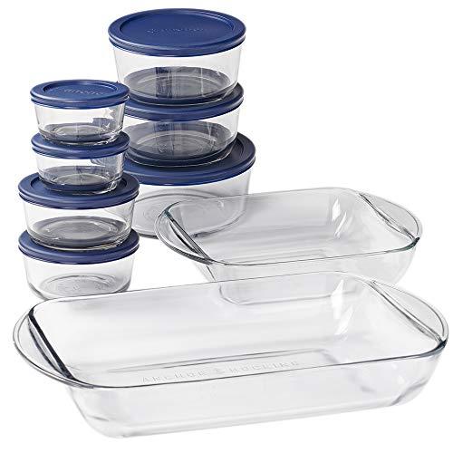 Anchor Hocking Bakeware Set 16 Piece Glass Food Storage, Microwave, Oven, Freezer, and Dishwasher Safe, with Navy BPA-Free SnugFit Lids