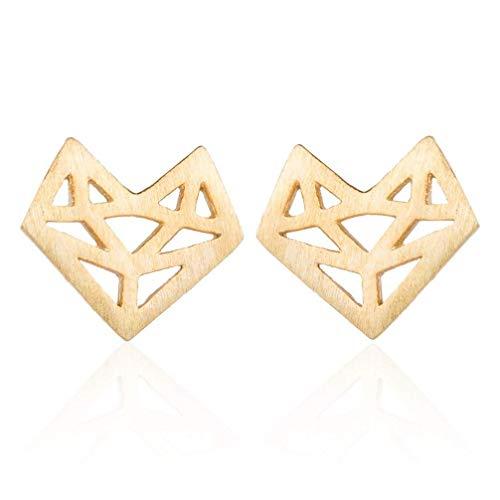 N-K Pendientes de tuerca con diseño de zorro de origami hueco para mujer, color dorado, cómodos y ecológicos