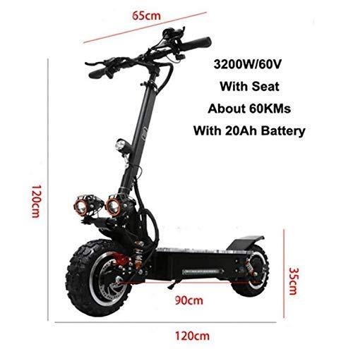 LUO 3200W Suspensiones Dobles Velocidad Máxima 90Km / H Off Road Motocicleta Scooter Eléctrico para Adultos, 3,2
