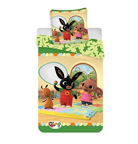 BrandMac Bing Single Duvet Cover | Bing, Sula & Flop | Cotton Children's Kids Bedding Set 135x200 cm & Pillowcase 50x75 cm