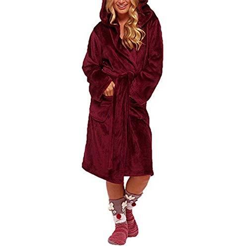 DUJUN Señoras Robe Toweling algodón Bata Albornoz Mujeres