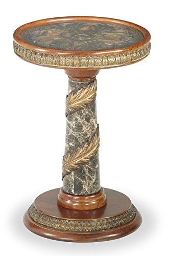 Michael Amini Villa Valencia Chair Side Table, Classic Chestnut
