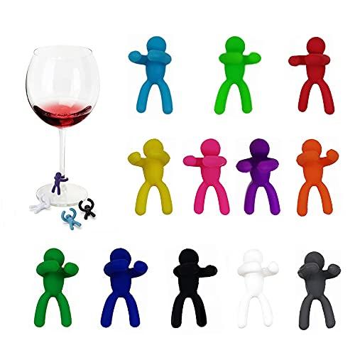 XGzhsa Marcatore per bicchieri da vino, marcatori per bevande, 12 marcatori per bicchieri da vino in silicone creativi per lidentificazione e la decorazione di bevande alla festa