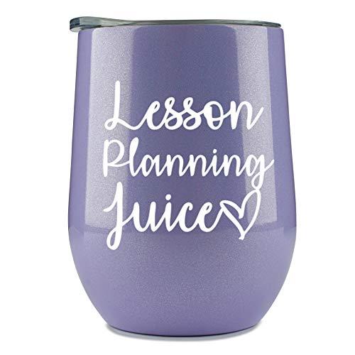 Teacher Wine Glass - 'Lesson Planning' Glitter Purple Tumbler/Mug for...