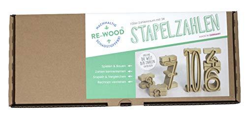Wissner aktiv lernen R80021.000 - RE Wood 34 Stapelzahlen natur, Montessori Lernspielzeug, Zahlen zum Stapeln und Rechnen, nachhaltig hergestellt, schadstofffrei