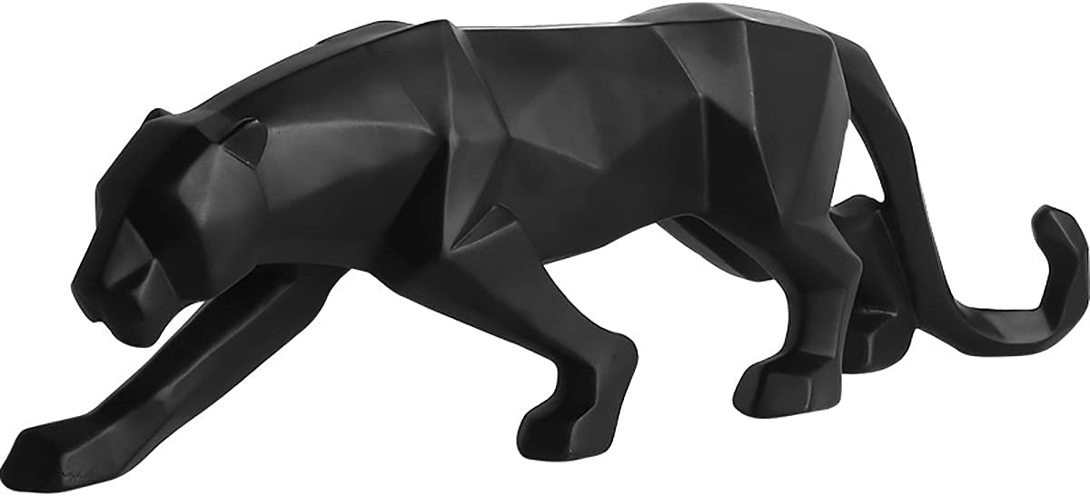 Fablcrew - Pantera escultura de decoración geométrica de resina de leopardo, estatuilla falsa decoración regalo artesanal para casa oficina (negro)
