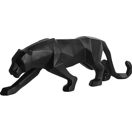 Fablcrew Panthère Sculpture Ornements Sculpture Géométrique Résine Léopard Statue Faune Décoration Cadeau Artisanale pour Maison Bureau (Noir)