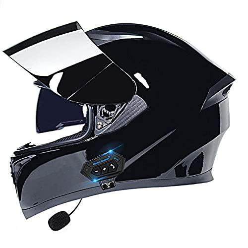 Cascos Bluetooth para motocicleta, casco modular de cara completa, casco modular con doble visera Bluetooth, casco Mp3 respuesta automática ECE/DOT aprobado (color: R)