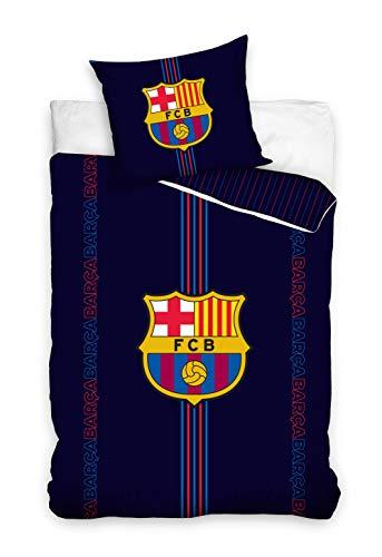 DHestia - F.C. Barcelona FCB192030 Bettbezug & Kissenhülle, 100prozent Baumwolle