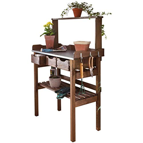 Planting table for garden terrace balcony - 3 drawers - 3 hooks - wood - galvanized metal work surface - brown - approx. 78 x 38 x 112 cm