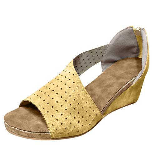 YWLINK Sandalias PU Moda Mujer CuñAs Boca Baja Peep Toe Zapatos Casuales De Playa Sandalias Romanas Fiesta TamañO Grande Zapatillas Al Aire Libre Moda Casual(Amarillo,42EU)