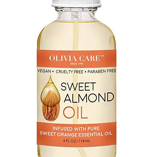 Sweet Almond and Sweet Orange Essential Oil by Olivia Care – 100% Natural & Vegan. Moisturize, Hydrate, Replenish, Brightens & Restore Skin. Infused With Vitamin C - Eliminate Dryness - 4 OZ