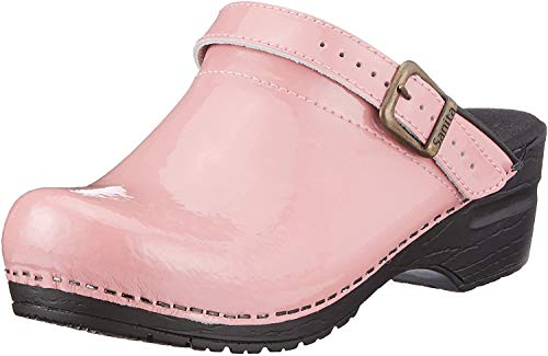 Sanita | Freya offener Clog | Original handgemacht | Flexible Leder-Clogs für Damen | Pink | 42 EU