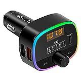 ELZO Transmisor FM Bluetooth, Adaptador Bluetooth 5.0 para automóvil con LED de 10 Colores y Carga rápida QC3.0, Soporte para transmisor Bluetooth Reproductor MP3, Llamadas Manos Libres, Negro