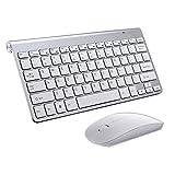 Fransande Teclado 2.4G de acero ultra delgado teclado para ordenador/escritorio/PC/ordenador portátil/superficie/Smart TV plateado
