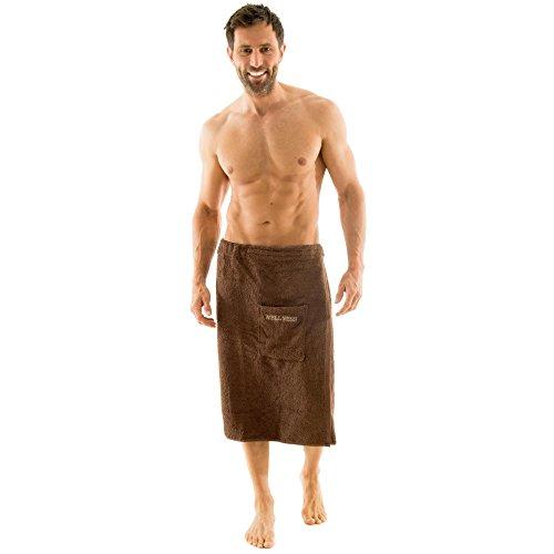 aqua-textil Wellness Saunakilt Herren 70 x 160 cm braun Baumwolle Saunasarong Frottee Kilt kurzer Schnitt