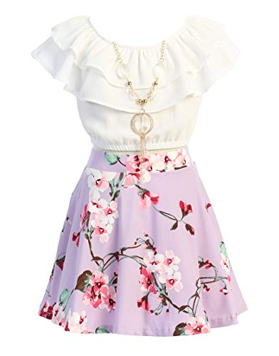 Little Girls Lilac Off Shoulder Crop Ruffle Layered Top and Floral Skirt Set Outfit USA Size 4