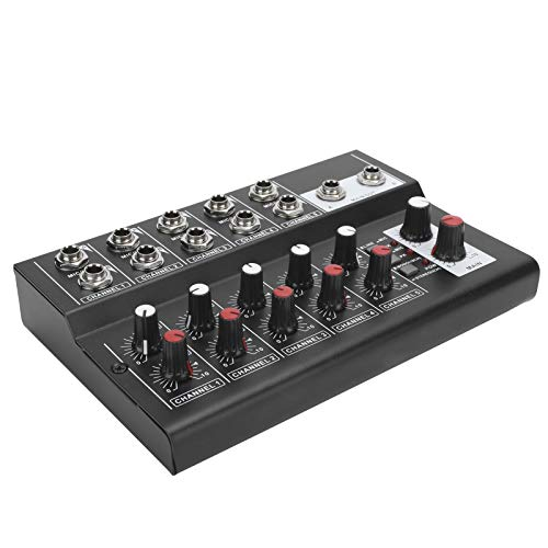 Fournyaa Mezclador de Sonido estéreo, Mezclador de Sonido multifunción portátil, para el hogar, Karaoke, micrófono, Amplificador, Consola, Equipo de Audio, Estudio pequeño(European regulations)