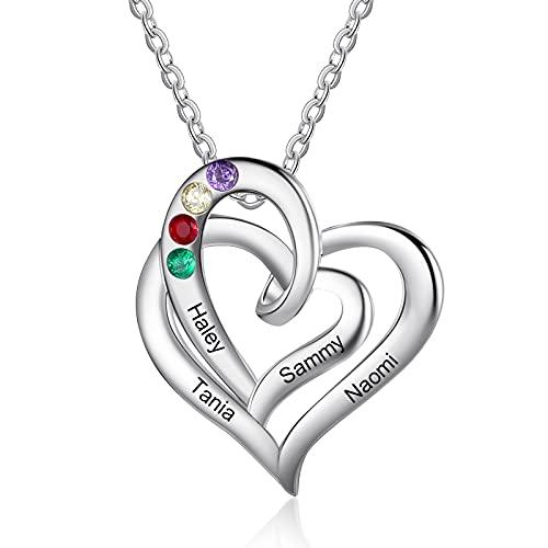 Band new Collar de mujer personalizado con 1-5 piedras de nacimiento Tu nombre Colgante de promesa de corazón para tu querida familia Madre Abuela Día de San Valentín (4 names)