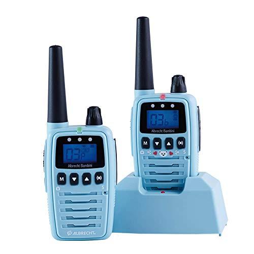Albrecht Bambini Babysitter, 29870, strahlungsarmes Babyphone mit großer Reichweite, 2 Funkgeräte, Farbe: Blau