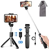 PEYOU Palo Selfie Trípode para Móvil, [ Recargable ] Palo Selfie con Control Remoto Bluetooth, Mini Selfie Stick Compatible para iPhone XS MAX XR 8 Plus, Compatible para Samsung Huawei Xiaomi