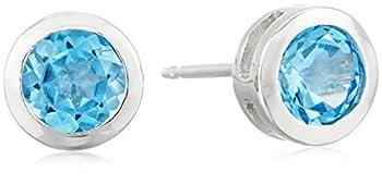 Sterling Silver Genuine Swiss Blue Topaz 5mm Bezel Set December Birthstone Stud Earrings
