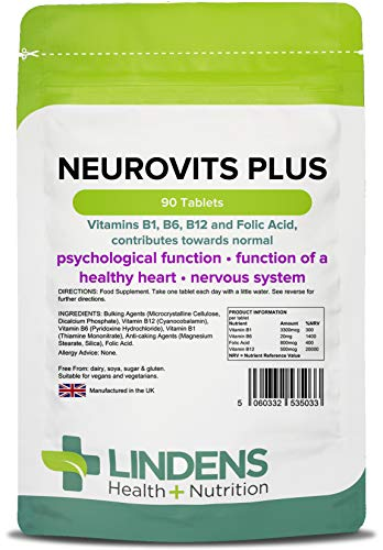 Lindens Neurovits Plus Tablets - 90 Pack - Contains Vitamin B1, B6, B12 & Folic Acid Contributes Towards Normal Psychological Function, Healthy Heart & Nervous System - UK Manufacturer, Letterbox Friendly