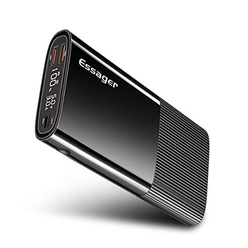 Powerbank 20000mah, ESSAGER 18W PD QC3.0 Schnelles Aufladen power bank mit LED Display, Tri-Outputs(3.4A) Externer Akku für Handy, iPhone12 Pro Max, iPad, Samsung Galaxy, Huawei und Andere Smartphones