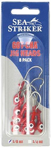 Sea Striker Got-Cha Jig Heads (8-Pack), 1/4-Ounce, Red Finish (0.25 Ounce Jig Head)