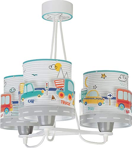 Dalber Baby Travel Lámpara Infantil de Techo 3 Luces Coches y Aviones, 60 W, Multicolor