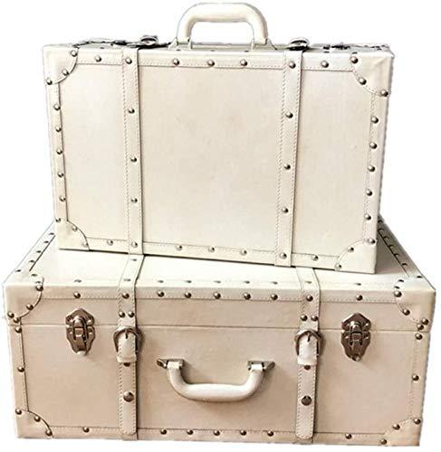 トランクケース アンティーク レトロプロップ箱 スーツケース収納ボックス ポータブル 古い装飾的な木箱2ワイン貯蔵 スーツケース宝箱 ジュエリー主催のPUレザーの複雑なセット 写真家の装飾に適しています オーガナイザーボックス アンティーク調 (b)