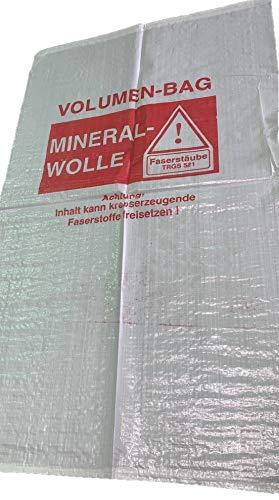 5er-Pack Mineralwolle Säcke 140x220 cm Rockwolle KMF-Gewebesack Entsorgung Dämmung, mit Warndruck