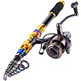 Sougayilang Tragbare Teleskop-Angelrute und -rolle Kombos Reise Spinning Angelrute Kits, 1.8M/5.9Ft Rod + WQ2000 Reel