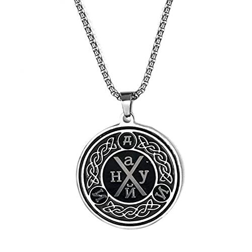 HCMA Collar Vikingo de Acero Inoxidable, Amuleto de Salomón, Colgante de la Suerte para Hombres/Mujeres, Collares y Colgantes de Color Plateado, Regalo de joyería