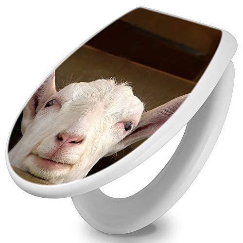 banjado Toilettendeckel mit Absenkautomatik | WC Sitz 42cm x 4cm x 37cm | Klodeckel weiß | Klobrille mit Edelstahl Scharnieren | Toilettensitz mit Motiv Ziege
