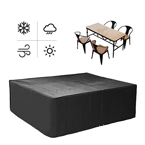 MVPower Garden Furniture Cover, 210D Oxford Fabric Waterproof Protective Cover, for Outdoor Patio Table and Chairs, Anti-UV Garden Table Covers 300 x 250 x 90 cm(Black)