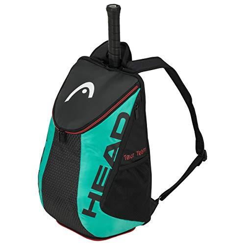HEAD Unisex-Erwachsene Tour Team Backpack Tennistasche, schwarz/türkis, Einheitsgröße