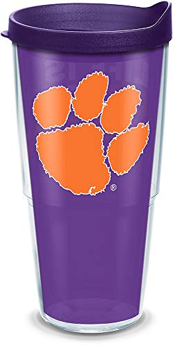 Tervis 1305924 Clemson Tigers Life is Good Insulated Tumbler with Wrap and Royal Purple Lid, 24oz, Clear