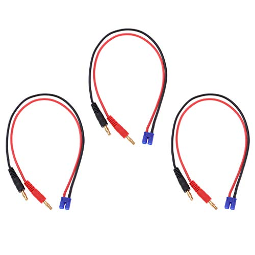 chiwanji 3X RC Cable de Carga de La Batería 4mm Banana Conecte El Cable del Cargador EC2 Macho