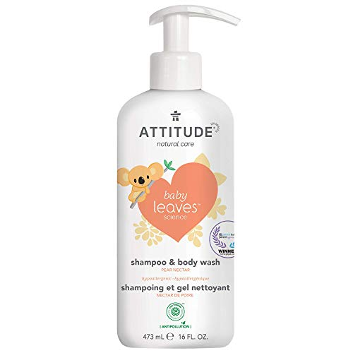 ATTITUDE 2-in-1 Natural Baby Shampoo & Body Wash for Sensitive Skin, Safe Hypoallergenic EWG Verified PTPA Gentle Formula, Pear Nectar, 16 Fl Oz