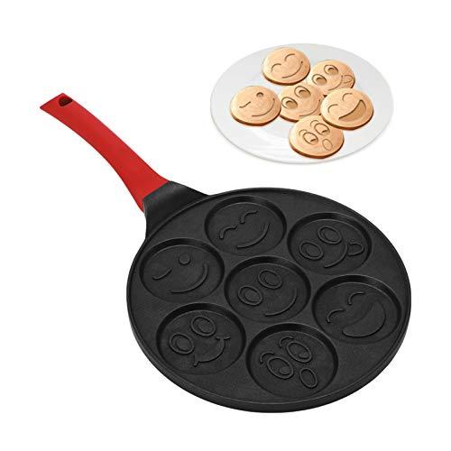 MorNon Smiley Pancake Pan Seven Hole Unique Smiley Mold Aluminum Frying Pan Non Stick Kitchen Cookware Pancake Omelette Pan With AntiScalding Handle