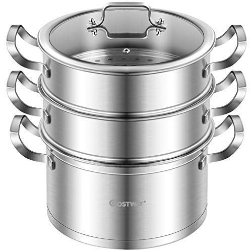 COSTWAY 3-Tier Stainless Steel Steamer for Cooking, Boiler Pot with Handles on Both Sides, Transparent Tempered Glass Lid, Free Combination Design, for Induction, Radiant-Tube Furnace