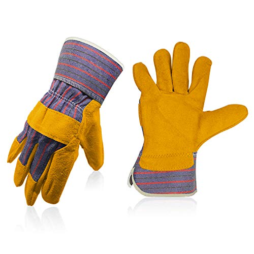 Fantaplus Welding Gloves - Heat Resistant Wear Resistant Lined Leather and Fireproof Stitching Multi-function For Welders (YELLOW WITH STRIPE)