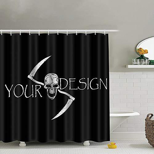 Meiya-Design Duschvorhang mit Haken, Totenkopf, gekreuzte Sensenmänner, 182,9 x 182,9 cm, Duschvorhang für Badezimmer, Heimdekoration