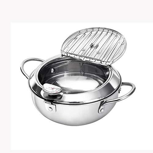 SPNEC Temperatura de Control for hogares Sartén, Acero Inoxidable sartén con el termómetro de Cocina Que Cocina la Herramienta (Size : B)
