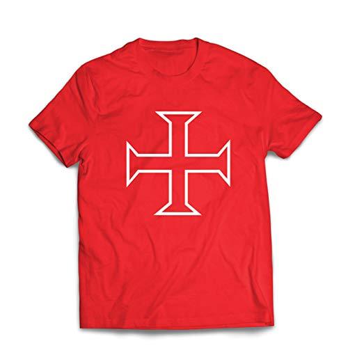 lepni.me Camisetas Hombre Los Caballeros Templarios, Cruz Roja, Compañeros Pobres-Soldados de Cristo (X-Large Rojo Multicolor)