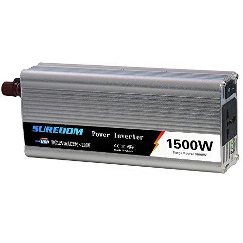 HPDOW KFZ Spannungswandler Wechselrichter, 1000W 1500W 2000W Wechselrichter 12/24v auf 110/230v Inverter mit USB Anschlüsse und Adapter Zigarettenanzünder,24vto220v-1500w